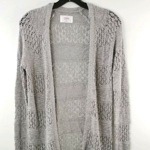Justice Girl 18 Gray Metallic Open Knit Sweater